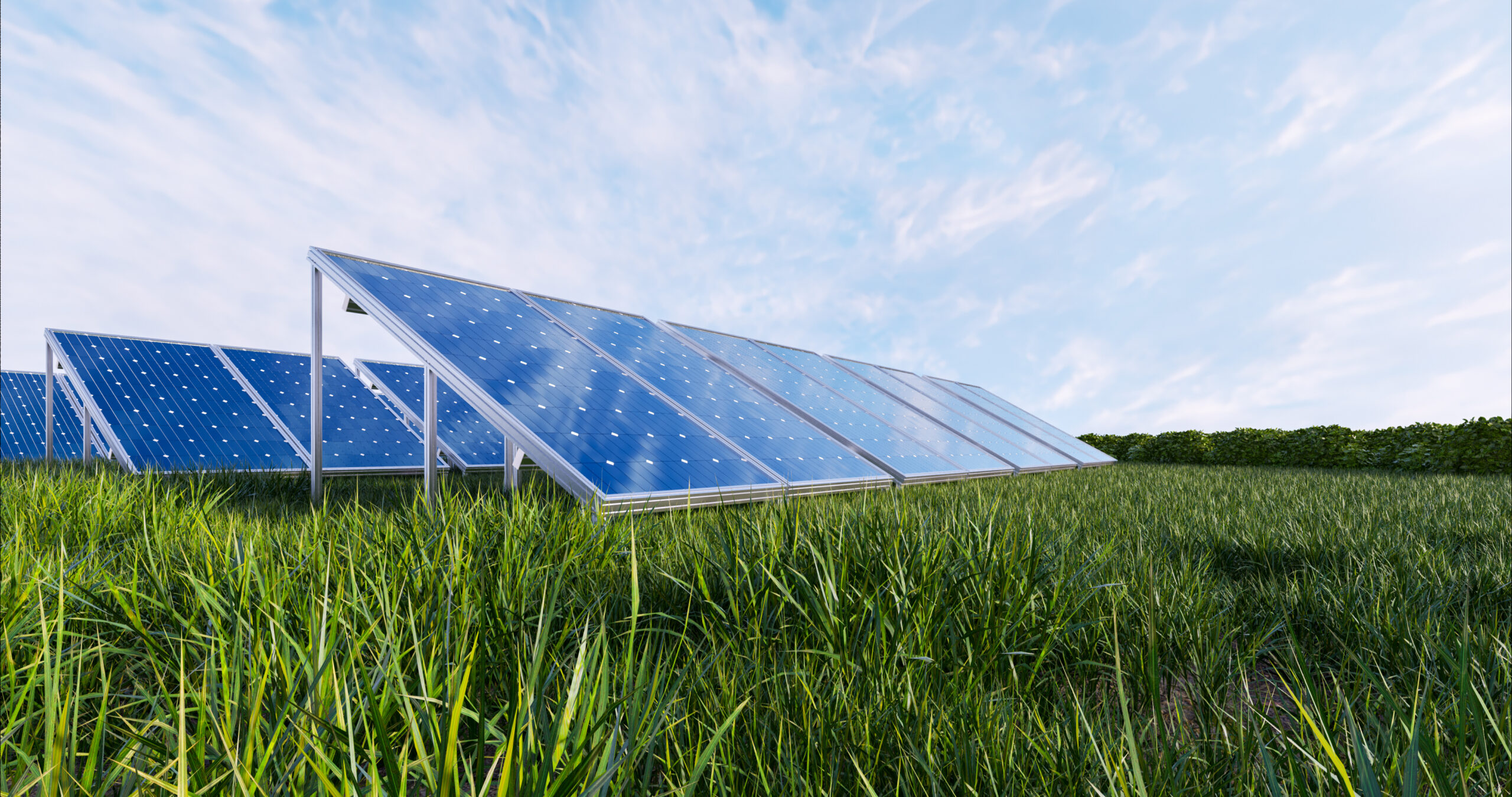 Solar power panel on sky background,3D rendering